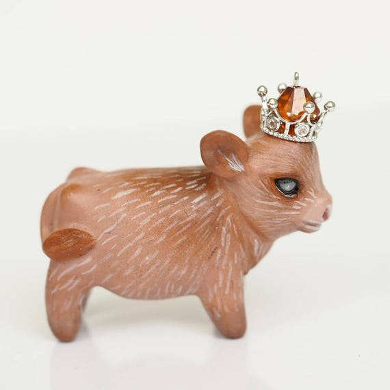 HIGHLAND COW CALF - Handmade Polymer Clay Sculpture With a Swarovski Crystal