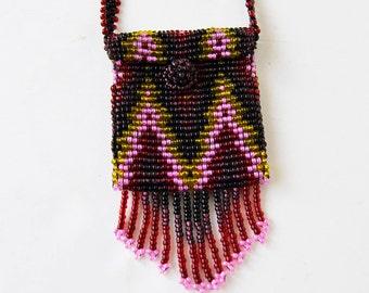 Mini purse necklace, bead necklace, mini bead bag,ruby