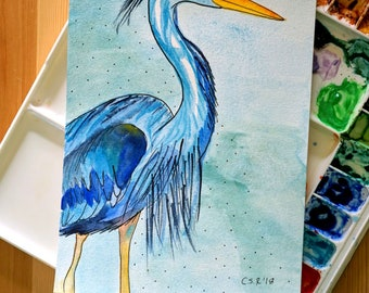 Blue Heron, bird painting, original watercolor art