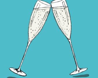 Champagne glasses (blue) - greetings card