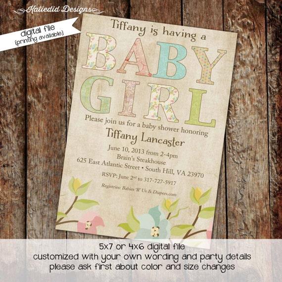 rustic baby girl shower invitation floral chic invite kraft paper rustic chic co-ed baby shower diaper wipe brunch gay 136 Katiedid Designs