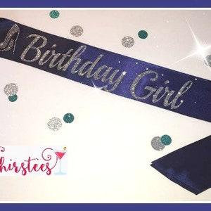 BIRTHDAY GIRL sash denim and diamonds theme Birthday Sash Party Sash birthday high heel birthday sash with bling birthday party birthday