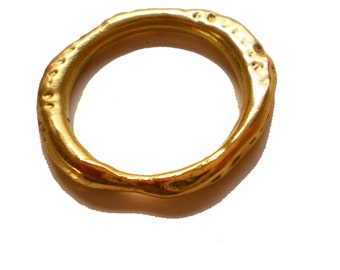 Organic 18 K yellow gold ring - Vesuvio wedding ring
