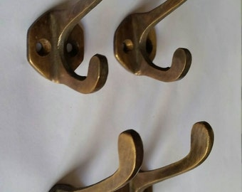 """4 Antique Vintage Solid Brass Coat, Hat, Towel Double Hooks with 6 sided backplate 2 1/4"""" long #C3"""