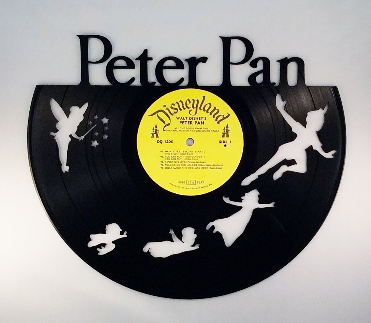 Recycled Vinyl Record Walt Disney PETER PAN Wall Art