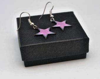 Mauve star enamel pendant earrings