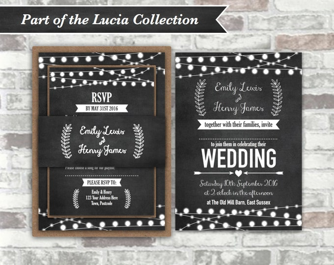 PRINTABLE Digital Files - Lucia Collection - Personalised Wedding Invitation Bundle - Chalkboard Festoon Fairy Lights - 5x7 Digital Files