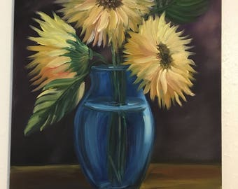 Sunflowers in vase,oil on stretched canvas 12/16 inches