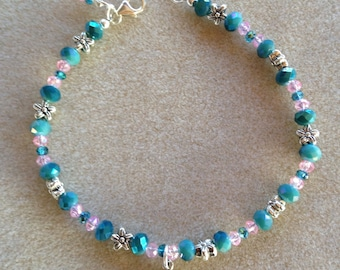 Handmade Pink and Teal / Blue Ankle Bracelet