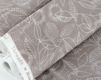 DOUBLE GAUZE- Backstitch Gray, ORGANIC, Threads Collection, Eloise Renouf, Cloud 9 Fabrics, By the Half-Yard