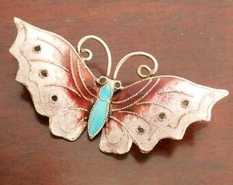 Vintage Scandinavian Butterfly Brooch, Pink Enamel & Purple, 925S Silver Brooch