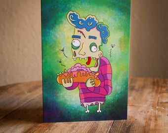 3 pack of Monster greetings cards featuring zombies, werewolves and vampires