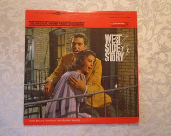 West Side Story Original Sound Track Recording Vinyl Record Album 1961, Center Fold Photo Shots and Movie Production Synopsis with Sleeve