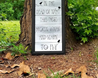Blackbird Lyrics, The Beatles song quote, Blackbird singing in the dead of night, The White Album, Beatles wooden pallet sign, John Lennon