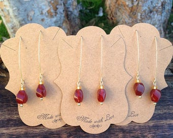 Marquise Style Carnelian Drop Earrings with a Touch of Gold