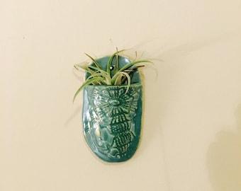 Indoor wall planter lace pottery indoor planter garden art wall decor hanging planter ceramic planter vertical planter plant holder