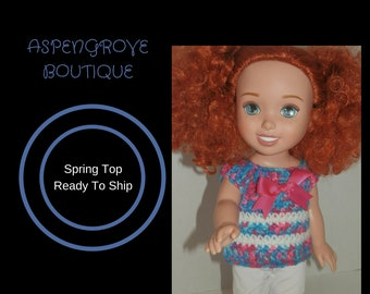 14 inch doll girl doll top shirt clothes ag crochet ready to ship