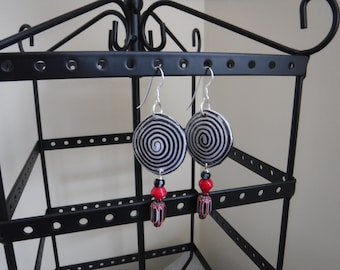 African Black and Red Paper and Glass Earrings