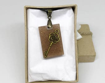 Steampunk Flower Key Brown Glitter Pendant Necklace with Gift Box