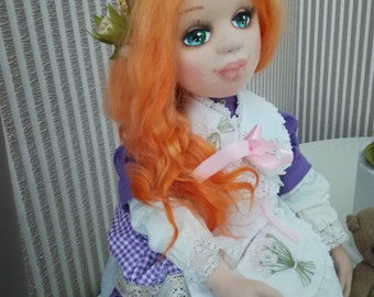 Art Doll, textile doll, interior doll, rag doll girl, soft handmade doll, Provence, cloth doll, handmade doll, fabric doll, ooak doll