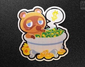 Tom Nook 'Bank Bath' Vinyl Sticker // Animal Crossing // New Leaf // Pocket Camp // Video Game Gifts