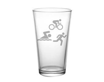 Triathlon Gift Glass, Etched Pint Glass, Swimming Gift, Christmas Gift, Running Gift, Gift for Triathlete,  Bike Gift, Run Swim Bike