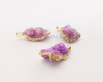 1pc 22-25mm Lilac violet, Pink  Druzy Pendant - Pink Geode Pendants - Gold Electroplate Druzy Geodes - Jewelry Supplies  AGGems00012