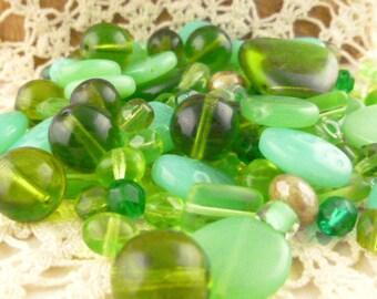 Green, Turquoise Czech Glass Beads, Assortment, Mix (80+ beads - 60grams) - BM