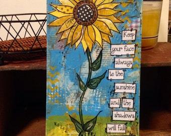 Sunflower Decor, Sunflower sign, mixed media, Walt Whitman quote