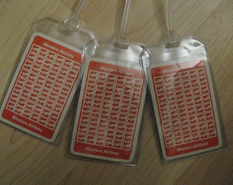 Western Airlines Luggage Tags - Vintage Playing Cards Suitcase Logo Tag Set (3)