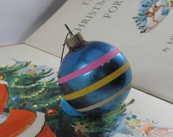 Vintage Shiny Brite Ornaments Metallic Blue Striped Bulb