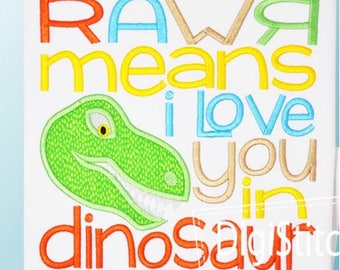 Rawr Means I Love You in Dinosaur Shirt/Bodysuit--Dinosaur Shirt--Design Created by DigiStitches
