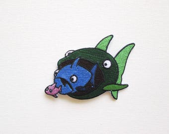 Big Fish Eats Little Fish Patch, Iron On, Fish, Dog eat dog, Proverb, Patchgame, Ocean, Beach, Fishes, Cute, Fun, Sayings, Fish proverb