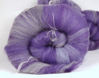 Plain Purple - 2.5-3 oz batt/blended top (Corriedale, Falkand, Targhee)