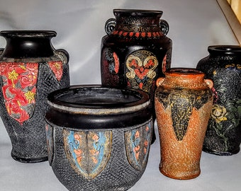 """Lot of Five (5)-Japanese Terra Cotta Hand Carved Various Sized Vases -""""Imitation Bronzes"""""""