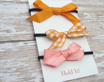 Orange & Peach Ponytail Bow Elastic, Girls Ponytail Elastic, Bow Ponytail Holder, Womens Pontail Holder,  Hair Tie, Set of 3