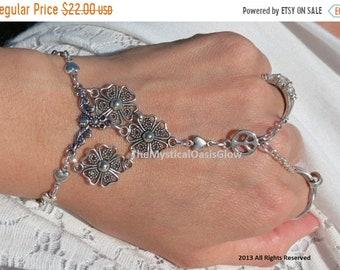 Hippie hand chain slave bracelet, ring bracelet, hand bracelet, peace and love hippie bracelet, chain finger bracelet, ring bracelet