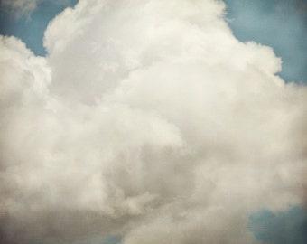 "Cloud Photography, Blue Nursery Art, Cloud Print, Nature Photography, Dreamy Blue Sky, Summer, 8x8 ""Cloud Busting"""