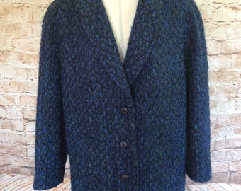 Vintage Coat Jacket Blue Black Boucle Wool Mohair Blend Shawl Collar Classic Eastex Made In England Pristine Condition c 1980s 14