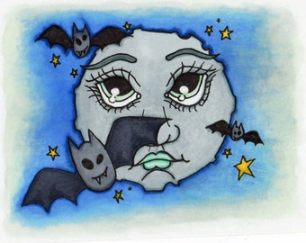 Hand drawn digital stamp / colouring page ~ 'Batty Moon'