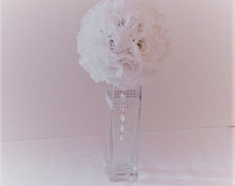 "Wedding centerpiece 6""D Pomander Ball centerpiece silk flower wedding flower ball arrangement wedding kissing ball silk flower centerpiece"