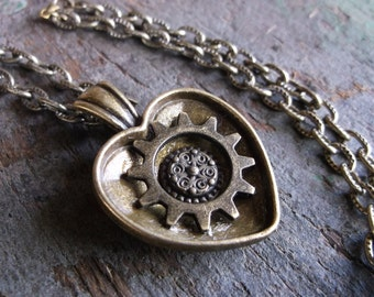 """Steampunk Gear in Heart Necklace in Antique Bronze on 23"""" (58cm) Large Link Textured Chain, Airship Pirate, Love, Nautical, Girlfriend"""