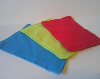 TRY ME Starter Set: Flannel Wipes, cloth wipes, baby wipes, Family cloth, reusable, washable, eco, zero waste, set of three, colorful