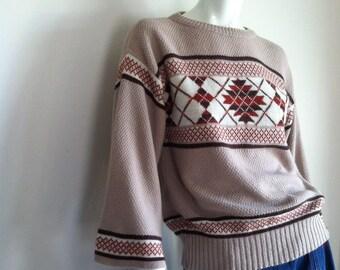 final sale -- Vintage 1970s Argyle Wide Sleeve Sweater