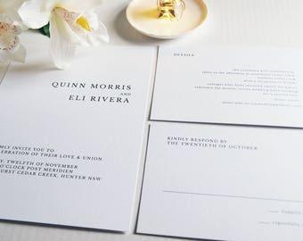 Minimal Serif Wedding Invitation Suite Sample