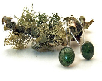 Oval REINDEER MOSS Earrings - Sterling Silver and Resin on Dangly Wires - Woodland Nature Artisan Jewelry from the Captured Collection