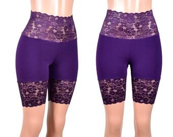 Dark Purple Wide Waistband High-Waisted Stretch Lace Shorts plus size bike shorts XS S M L XL 2XL 3XL safety short high waist cotton spandex