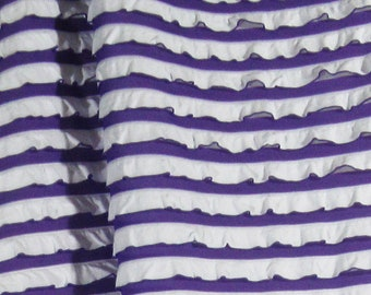 Ruffle Fabric Purple White Polyester Blend Tiered Stretchy 1-1/3 Yards