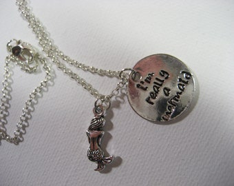 I'm really a mermaid necklace mermaid necklace
