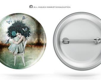 Button pin | Girl and butterflies | Wearable art | Butterfly badge | Badge pin | Pin back button | You choose size